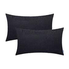 2Pcs Black Cushion Covers Pillows Cases Corduroy Corn Striped Home Decor 30x50cm