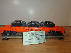LIONEL O GAUGE # 6362-55 RAIL TRUCK CAR WITH 3 TRUCKS AND BOX