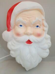 1989 Plastic Union Blow Mold Christmas Santa Claus Face Head Light decoration