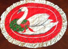 Placemats for Christmas, Quilted, Swan, Set of FOUR with Napkins, Holiday Decor