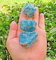 3 Pieces  Natural Rough Blue Apatite Gemstone Crystal Quartz Specimen Reiki