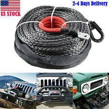"""3/8"""" X 95' Winch Synthetic Line Cable Rope ATV UTV Truck Boat W/ Thimble Sleeve"""