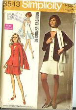 Vintage 60s Simplicity Sewing Pattern 8543 Mini Dress Jacket Scarf Misses 14 B36