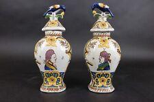 Old Dutch Delft Polychrome Pair of Vases 'Prince of Orange' Very Nice