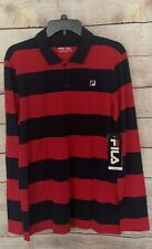 FILA Men's Long Sleeve Rugby Pull Over Red Blue 2 Button Shirt