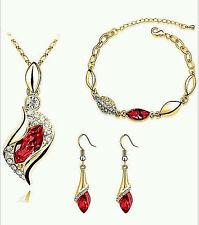 NEW WOMEN'S RED/GOLD-TONE RHINESTONE CRYSTAL EARRINGS NECKLACE BRACELET SET