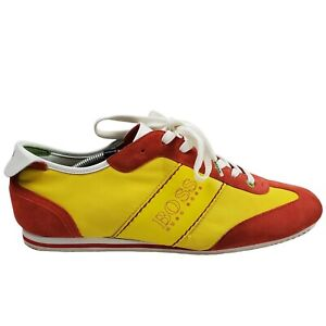 Boss Hugo Boss Yellow/Red Low Top Fashion Casual Sneakers- Size 11.5- Lace Up