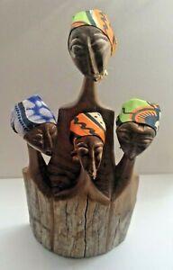 Unusual AFRICAN WOODEN ORNAMENT - 4 Women wearing Cloth Headscarves