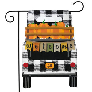 "Black Checkered Truck Fall Burlap Garden Flag Pumpkins 12.5""x18"" Briarwood Lane"