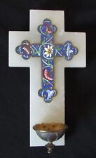 Crucifix Benitier ancien en émaux cloisonnés sur croix en onyx , 19 ème siècle