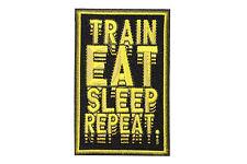 Jiu Jitsu BJJ Gi Patch MMA TRAIN EAT SLEEP REPEAT Jiu Jitsu Gift IRON-ON Gold