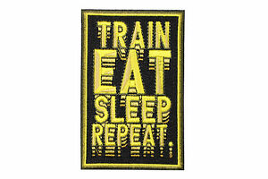 Jiu Jitsu BJJ Gi Patch MMA TRAIN EAT SLEEP REPEAT Jiu Jitsu Gift IRON-ON Gold