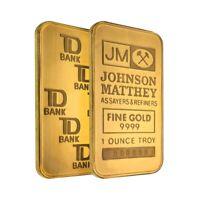 1 oz Johnson Matthey TD Bank Gold Bar .9999 Fine (Sealed)