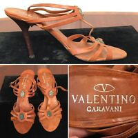 VALENTINO Garavani Brown Leather Open-Toe Ankle-Strap Heels Sandals US Size 8
