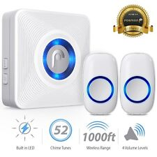 LED 4 Volume 1000FT Wireless Doorbell Chime [1 Plugin Receiver+2 Transmitter]