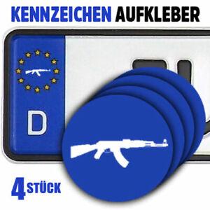 AK47 Kalaschnikow Gewehr Kennzeichen-Vinyl-Aufkleber 4Stück für EU-Kreis