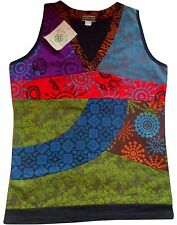 NEPALESE COTTON PATCHWORK FESTIVAL SLEEVELESS T-SHIRT SINGLET VEST TOP ONE SIZE