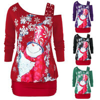 Women's Blouse Christmas Snowman Snowflake Print Sweatshirt Pullover Tops Shirt