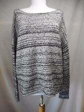 Madewell Tunic Sweater L Dolman Sleeve Black White Threadmix Boatneck Pullover