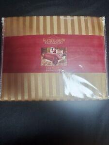 Luxery Satin Woven Stripe - King Size Sheet Set - Gold - NIB