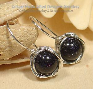 Blue Sunstone Sterling Silver 925 Earrings Handmade Jewellery 0919-1