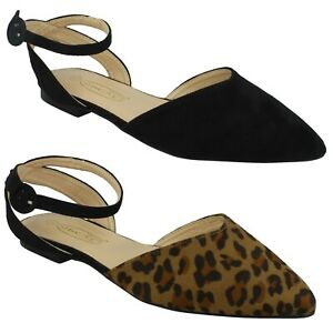 F8R0535 SPOT ON LADIES MICROFIBRE BUCKLE FLAT POINTED SLINGBACK SANDALS SIZE