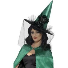 Teal Deluxe Witch Hat Ladies Witches Hat Halloween Fancy Dress Accessory