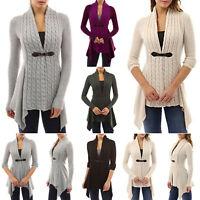 Womens Long Sleeve Cardigan Irregular Cable Knit Sweater Jacket Outerwear Cardi