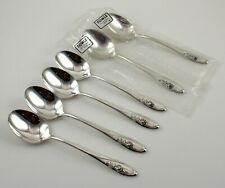Towle Sculptured Rose Sterling Silver Oval Soup Dessert Spoons - Set of 6