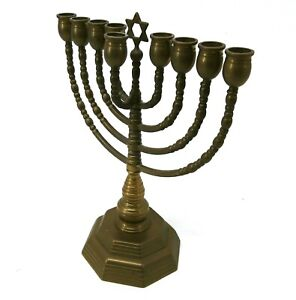 "Vintage Brass Menorah David Hanukhah Jewish Candle Holder 12"" H084"
