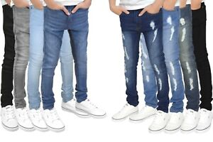 SK-1 Boys / Kids Super Skinny Stretch Ripped Distressed / Plain Faded Jeans