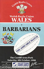 WALES v BARBARIANS (Rugby Union International 6.10.1990) Programme