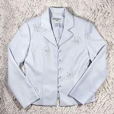 JESSICA HOWARD Light Blue Beaded Flowers Blazer Jacket, Sz 8 Petite