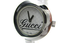 Authentic GUCCI 105 GG Pattern Dial Stainless Steel Women's Bangle Watch