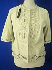 ELIE TAHARI Embroidered Stone Suede NEW Sophisticated Jacket M $998