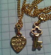 "GOLD PLT ALLOY ""KEY + HEART""(2) PENDANTS + 2x16""OR 18"" PLT GOLD NECKLACE CHAIN"