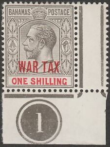 Bahamas 1918 KGV 1sh Grey-Black + Carmine War Tax Overprint Plate 1 Mint SG99