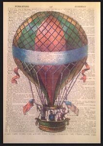 STEAMPUNK VINTAGE HOT AIR BALLOON PRINT Dictionary Page Wall Art Picture Quirky
