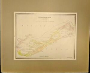 EXTREMELY RARE FULLY FRAMED MAP OF THE BERMUDA ISLANDS IN 1887 GENUINE
