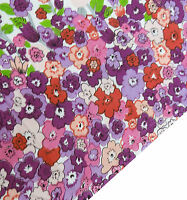 """40"""" Wide White Cotton Fabric Floral Print Dress Making Material Craft By 1 Metre"""