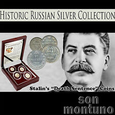 STALIN'S DEATH SENTENCE - Historic Russian Silver Kopek 4 Coin Set in Box + COA