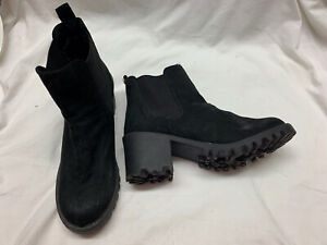 River Island Black Suede Chunky Heel Ankle Boots Sz 7