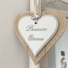 "SHABBY CHIC ""PROSECCO QUEEN"" WOODEN DOUBLE HANGING HEART PLAQUE SIGN WHITE BELLS"