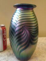 "Outstanding Signed EICKHOLT Art Glass Cobalt & Purple 8"" Iridescent VASE"
