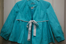 LAL Live A Little Turquoise Swing Jacket 3/4 Sleeves Cotton/Nylon S NWOT