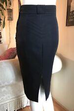 Vintage 80s France Designer Hi-Waist Pencil Skirt 38 S Art Deco Belt Loops Black