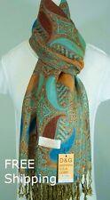DG Women's Pashmina Scarf Wrap Shawl.Paisley Green Brown Blue;Silk Cashmere*029