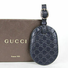 New Authentic GUCCI Guccissima Leather Travel Luggage ID Tag Navy 295259 4009