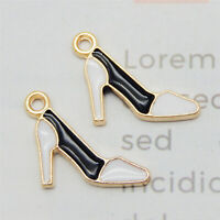 20pcs Enamel Colorful Alloy High Heels Pendant Charms DIY Findings Accessories