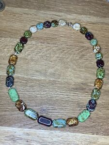 Lovely Vintage Scottish Style Agate Square Beaded Necklace
